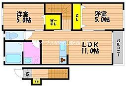 リバーサイド藤田C棟[2階]の間取り