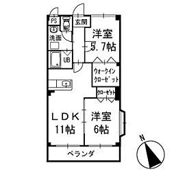 ハピネスYNA 2階[201号室]の間取り