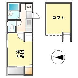 愛知県名古屋市西区栄生3丁目の賃貸アパートの間取り