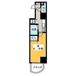 プレサンス覚王山D-StyleII 4階1Kの間取り