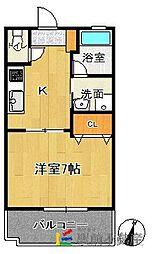 JR鹿児島本線 福工大前駅 徒歩3分の賃貸アパート 2階1Kの間取り