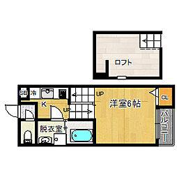 エスポワール東大阪[201号室]の間取り