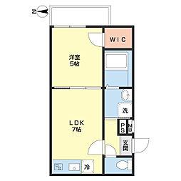 JR和歌山線 和歌山駅 徒歩9分の賃貸アパート 2階1DKの間取り