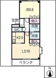 愛知県北名古屋市西之保中屋敷の賃貸マンションの間取り