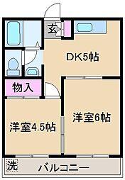 江北サニーハイツ[2階]の間取り