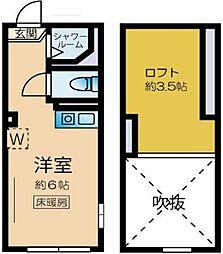 ネクサス新宿戸山公園 2階ワンルームの間取り
