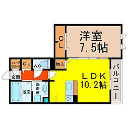 愛知県名古屋市中区平和2丁目の賃貸アパートの間取り