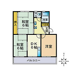 中山コーポ[3階]の間取り