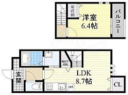 Osaka Metro四つ橋線 住之江公園駅 徒歩17分の賃貸アパート 1階1LDKの間取り