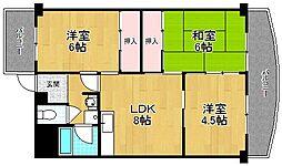 南茨木ハイタウン美沢高層住宅A棟[607号室]の間取り