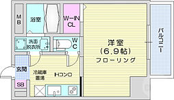 仙台市地下鉄東西線 大町西公園駅 徒歩4分の賃貸マンション 4階1Kの間取り
