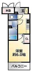 ファステート大阪上本町ソーレ 3階1Kの間取り
