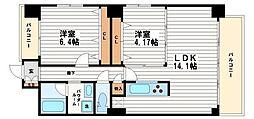 ブランメゾン船場[14階]の間取り
