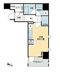 都営新宿線 岩本町駅 徒歩5分の賃貸マンション 5階ワンルームの間取り