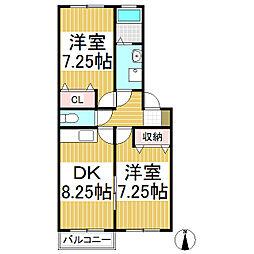 ベルエポック 2階2DKの間取り