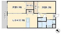 チェリーコート赤坂[202号室]の間取り