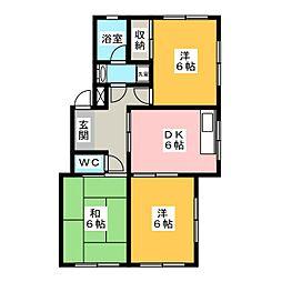 サンライト東刈谷[4階]の間取り