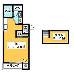 Jハウス 2階ワンルームの間取り
