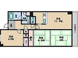 メゾンドール江坂[12階]の間取り
