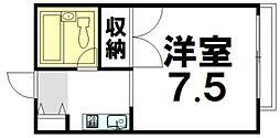 JR津山線 法界院駅 4.4kmの賃貸アパート 2階1Kの間取り