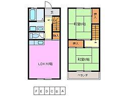 三重県桑名市長島町押付の賃貸アパートの間取り