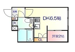 JR仙山線 東北福祉大前駅 徒歩18分の賃貸マンション 1階1DKの間取り