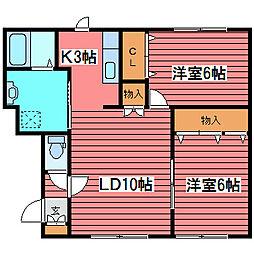 ボヌール福住[3階]の間取り