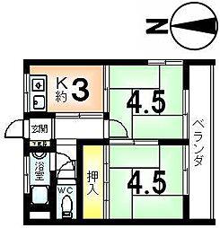 マンション千鶴荘[301号室]の間取り