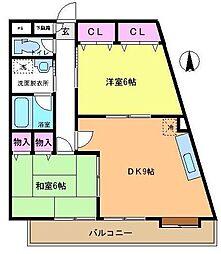 ハニーシャトルK[2階]の間取り