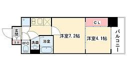 大阪府大阪市中央区瓦町2丁目の賃貸マンションの間取り