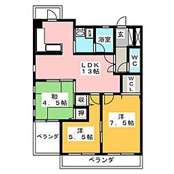 ラクール庭瀬[2階]の間取り