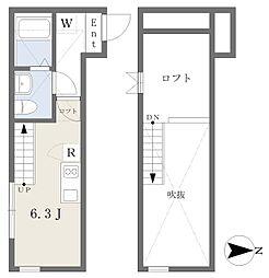 桜ヶ丘Dias 1階ワンルームの間取り