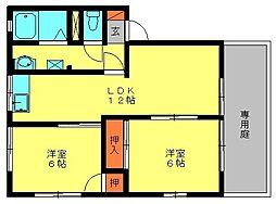 福岡県大野城市錦町3丁目の賃貸アパートの間取り