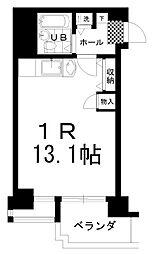 南大通4マンション 11階ワンルームの間取り