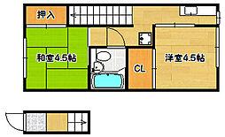 兵庫県神戸市兵庫区東山町1丁目の賃貸アパートの間取り