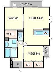 仮称東淀川区森岡ハイツ 2階2LDKの間取り