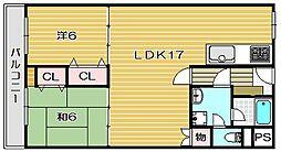 ロイヤル九河[3階]の間取り
