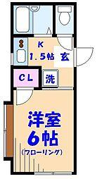 コーポ成島III[205号室]の間取り