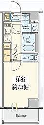東京メトロ半蔵門線 清澄白河駅 徒歩5分の賃貸マンション 6階1Kの間取り