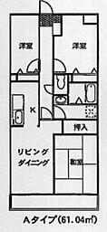 JR青梅線 羽村駅 徒歩7分の賃貸マンション 2階3LDKの間取り