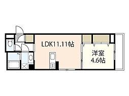 広島電鉄6系統 舟入川口町駅 徒歩5分の賃貸アパート 3階1LDKの間取り