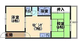 メゾン赤松 2階2DKの間取り
