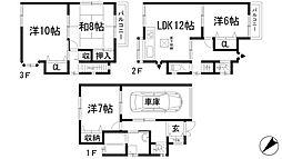 [一戸建] 兵庫県川西市一庫3丁目 の賃貸【/】の間取り