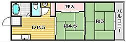 田畑コーポ1号館[2階]の間取り