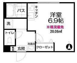 東武東上線 大山駅 徒歩11分の賃貸アパート 1階ワンルームの間取り