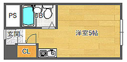 北大阪急行電鉄 緑地公園駅 徒歩6分の賃貸マンション 2階ワンルームの間取り