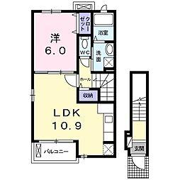 ドミール南赤塚[2階]の間取り