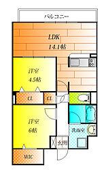メルヴェ—ユ藤井寺[3階]の間取り