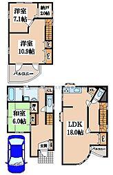 [一戸建] 大阪府東大阪市西石切町5丁目 の賃貸【/】の間取り