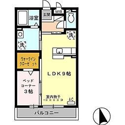富山県富山市中川原新町の賃貸アパートの間取り